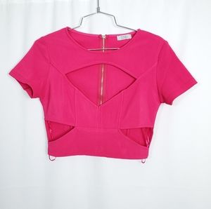 Tobi Diamond Side Cut Out Crop Club Top